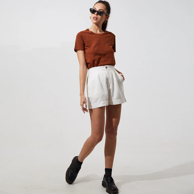 Afends Womens Hemp Basic Standard Fit Tee- Brick