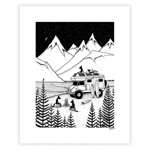 Camping With Dogs Art Print