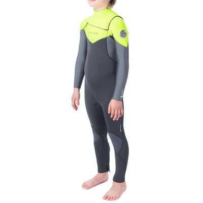 Rip Curl Jr. Dawn Patrol 3/2 Chest Zip Wetsuit - Lime