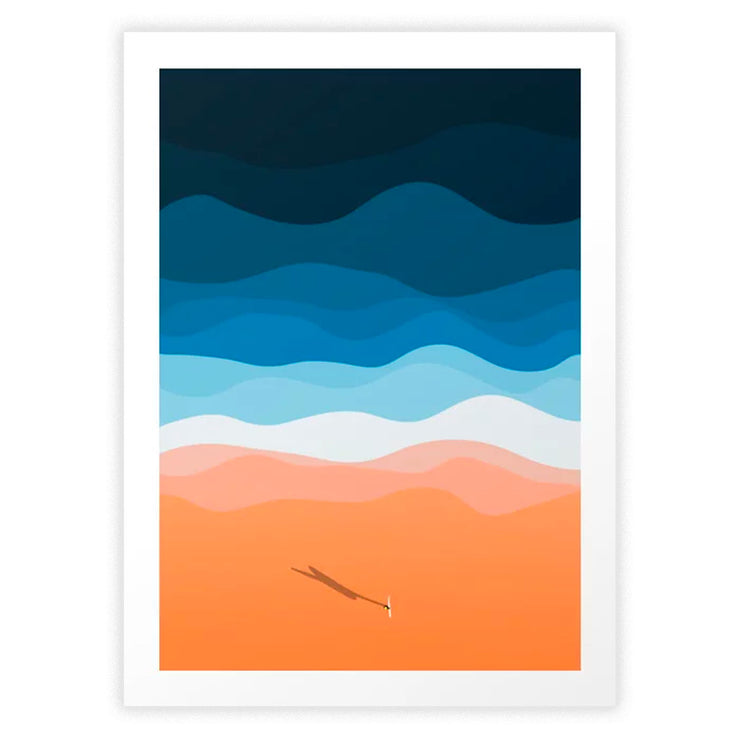 Lone Surfer on the Beach Art Print