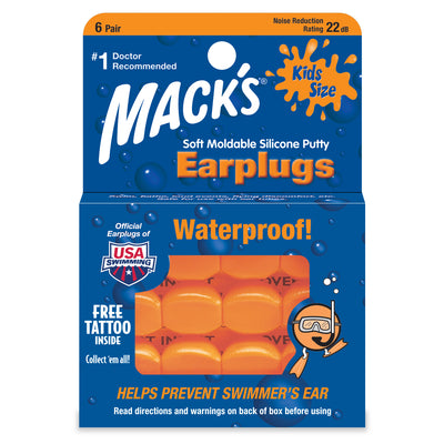 Mack's Kids Size Soft Moldable Silicone Putty Ear Plugs - 6 Pair