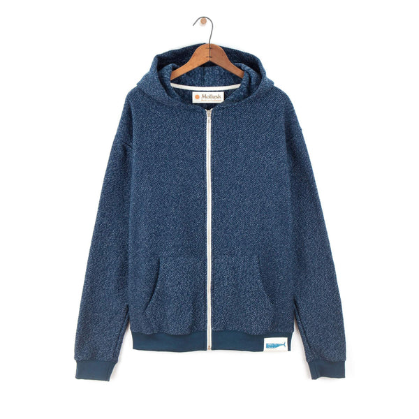Mollusk Whale Patch Zip Up - Navy Indigo