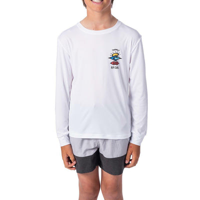 Rip Curl Youth Search Logo Rashguard LS  - White