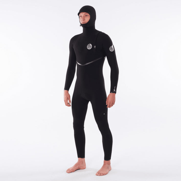 Rip Curl E-Bomb 4/3 Zip Free Hooded Wetsuit - Black