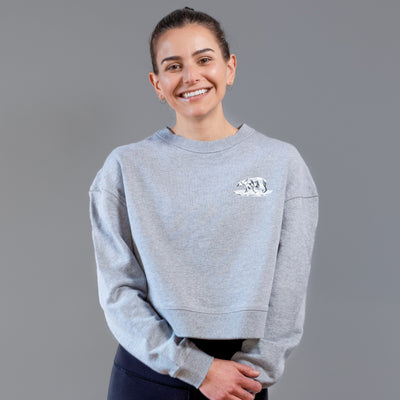 STG Womens Great White North Crop Crewneck - Heather Grey
