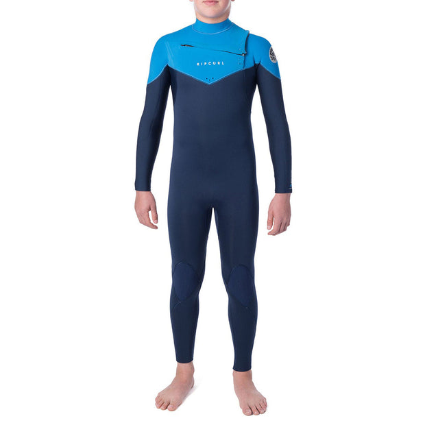 Rip Curl Jr. Dawn Patrol 4/3 Chest-Zip Wetsuit - Blue