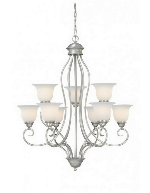 Vaxcel Lighting PACHU009BN Picasso Collection Nine Light Chandelier in Brushed Nickel Finish