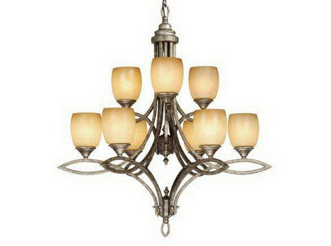Vaxcel Lighting PC-CHU0009 LS Nine Light Chandelier in Lava Stone Finish