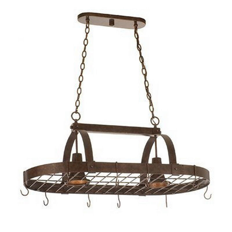 Kalco Lighting 3616cc Two Light Island Chandelier Pot Rack In Copper Claret Finish Quality