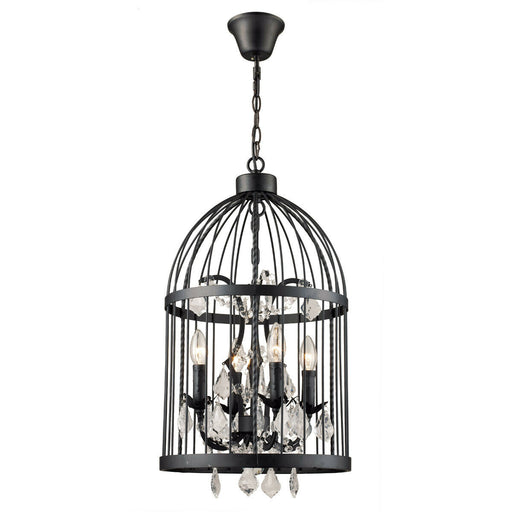 Trans Globe Lighting 10454 BK Amherst Collection Four Light Hanging Pendant Chandelier in Black Finish with Crystal Accents