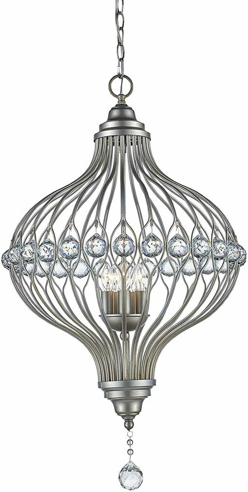 Trans Globe Lighting 10495ASL Alcira Collection Five Light Hanging Pendant Chandelier in Antique Silver Leaf Fish with Crystal Accents