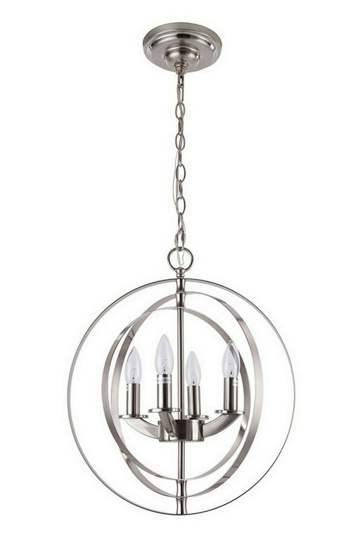 Rainbow Lighting PC104-BN Four Light Pendant Sphere Chandelier in Brushed Nickel Finish