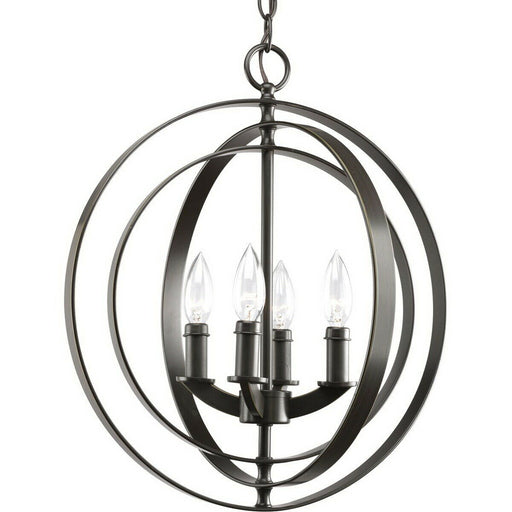 Rainbow Lighting PCL04H-BLK Four Light Pendant Sphere Chandelier in Painted Black Finish