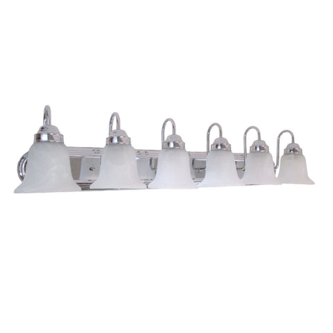 Epiphany Lighting 106052 CH-105252 Six Light Bath Vanity Wall Light in Polished Chrome Finish and Frosted Alabaster Glass - Discount Lighting Fixtures