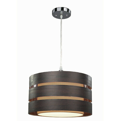 Rainbow Lighting 110B01CH One Light Hanging Pendant in Chrome and Brown Finish