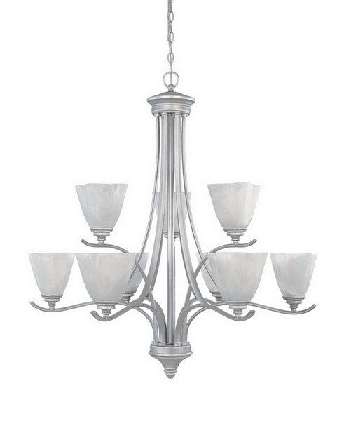 Designers Fountain Lighting 81989 MTP Bella Vista Collection Nine Light Hanging Chandelier in Matte Pewter Finish - Quality Discount Lighting