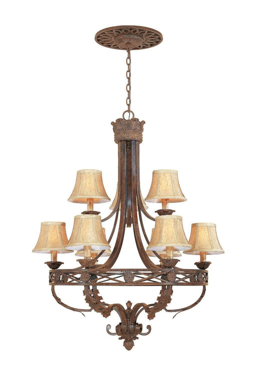 Designers Fountain Lighting 97889 VBG Carlisle Collection Nine Light Hanging Chandelier in Venetian Bronze Finish - Quality Discount Lighting