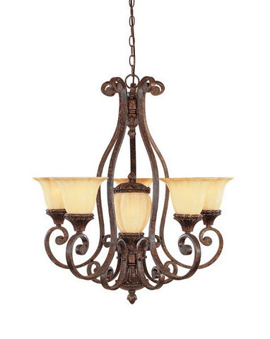 Designers Fountain Lighting 98785 BU Astor Manor Collection Five Plus One Light Hanging Chandelier in Burnt Umber Finish - Quality Discount Lighting