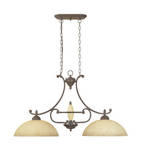 Designers Fountain Lighting 81038 AO Salerno Collection Two Light Island Pendant Chandelier in Ancient Oak Finish - Quality Discount Lighting
