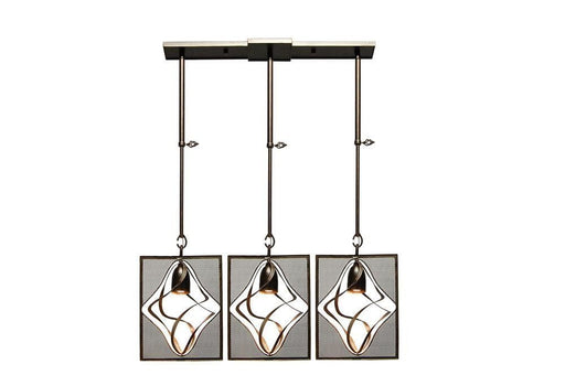 Kalco Lighting 2696-1SV Oxford Collection Three Light Island Pendant Chandelier in Aged Silver Finish - Quality Discount Lighting