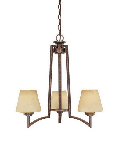 Designers Fountain Lighting 81483 BU Three Light Hanging Chandelier in Burnt Umber Finish - Quality Discount Lighting