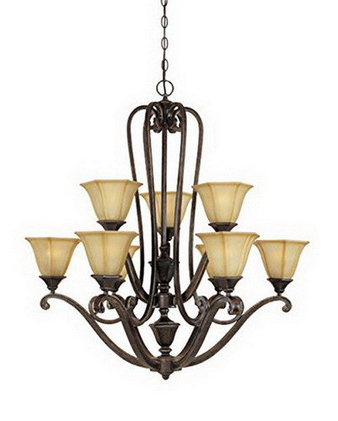 Designers Fountain Lighting 81189 IW Olympia Collection Nine Light Hanging Chandelier in Imperial Walnut Finish - Quality Discount Lighting