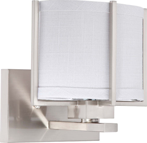 Nuvo Lighting 60-4341 Portia Collection One Light Energy Efficiencient Fluorescent GU24 Wall Sconce in Brushed Nickel Finish - Quality Discount Lighting
