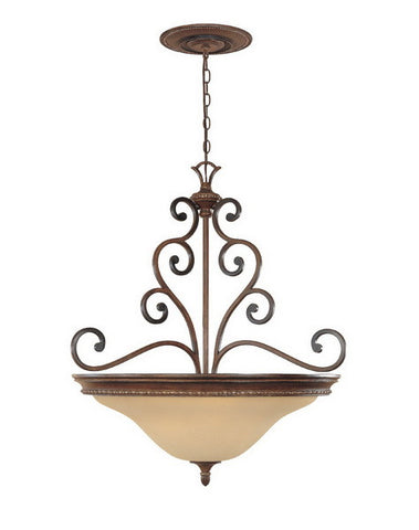 Designers Fountain Lighting 81533 BWG Montreaux Collection Three Light Hanging Pendant Chandelier in Burnt Walnut with Gold Accents Finish - Quality Discount Lighting