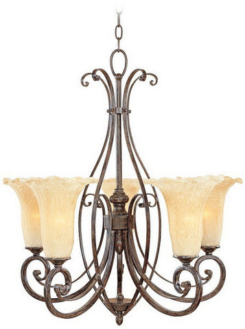 Designers Fountain Lighting 80985 WM Quinby Collection Five Light Hanging Chandelier in Warm Mahogany Finish - Quality Discount Lighting