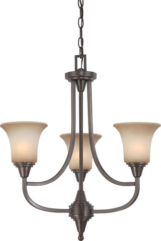 Nuvo Lighting 60-4165 Surrey Collection Three Light Hanging Chandelier in Vintage Bronze Finish