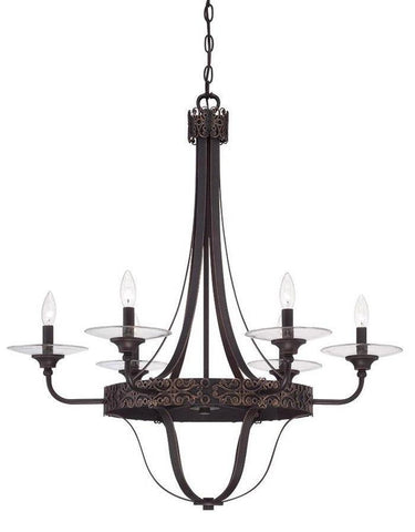 Craftmade Lighting 36326 ABZG Amsden Collection Six Light Pendant Chandelier in Aged Bronze with Gold Finish