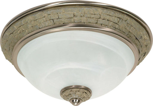 Nuvo Lighting 60-2489 Rockport Milano Collection Two Light Energy Efficient GU24 Fluorescent Flush Ceiling Mount in Brushed Nickel Finish