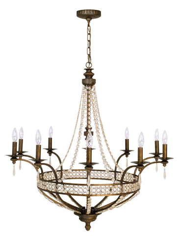 Craftmade Lighting 5538PR10 Cortana Collection Ten Light Pendant Chandelier in Peruvian Bronze Finish