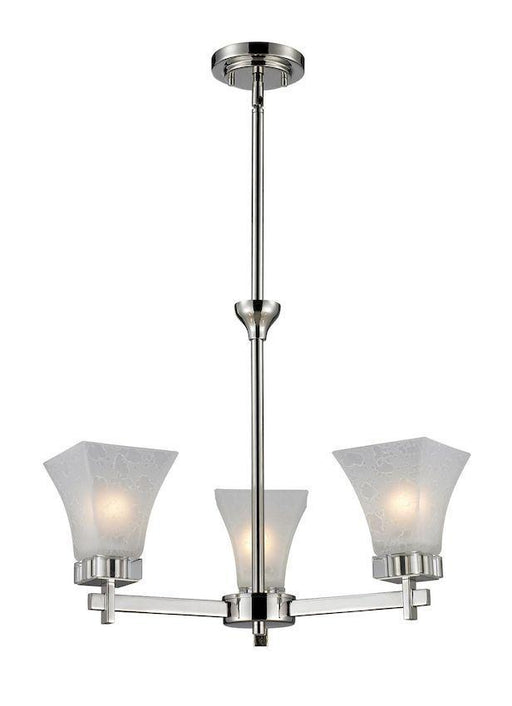 Z-Lite Lighting 319-3 Pershing Collection Three Light Hanging Chandelier in Polished Nickel Finish