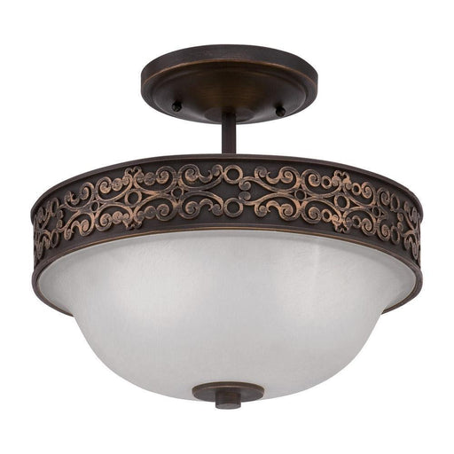 Craftmade Lighting 36352 ABZG Amsden Collection Two Light Convertible Semi Flush Ceiling Mount or Hanging Pendant in Aged Bronze with Gold Finish