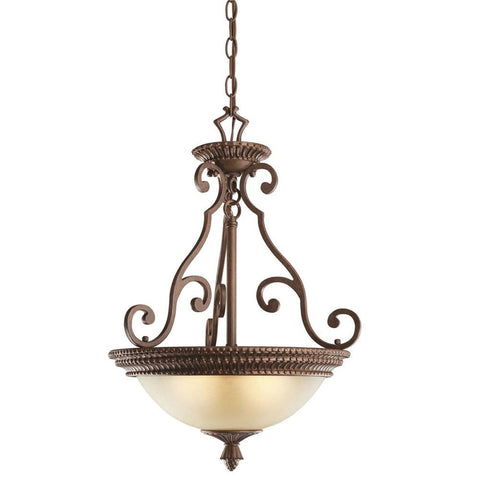 Kichler Lighting 10814 TZG Larissa Collection Energy Efficient Fluorescent Bowl Pendant Chandelier in Tannery Bronze Finish with Gold Accent - Quality Discount Lighting