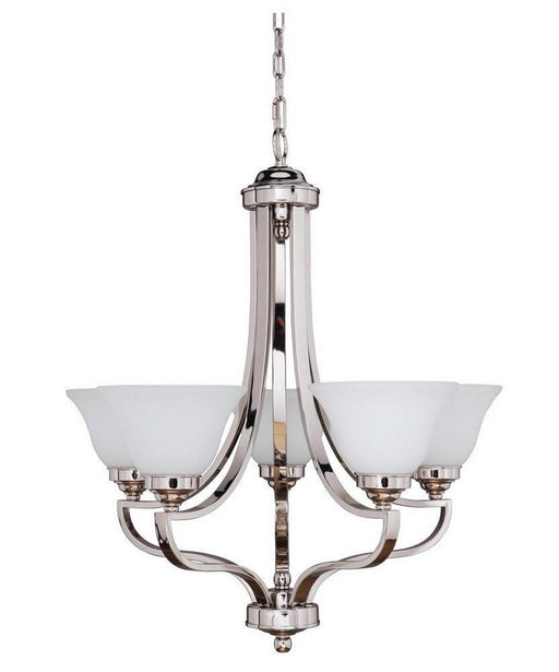 Craftmade Lighting 9827PLN5 Portia Collection Five Light Hanging Chandelier in Polished Nickel Finish