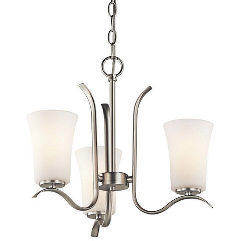 Kichler Lighting 43073NIFL Armida Collection Three Light Energy Efficient Chandelier in Brushed Nickel Finish