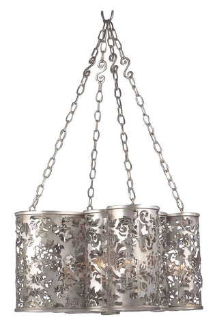 Kalco Lighting 2539 SV Ophelia Collection Eight Light Pendant Chandelier in Antique Silver Finish - Quality Discount Lighting