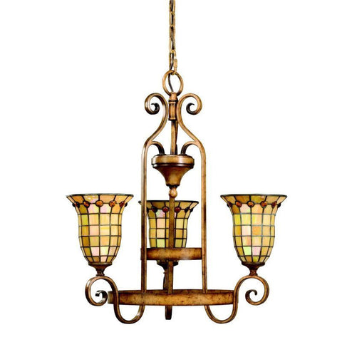 Aztec 34975 by Kichler Lighting Westerly Collection Three Light Hanging Chandelier in Mottled Pecan Finish - Quality Discount Lighting