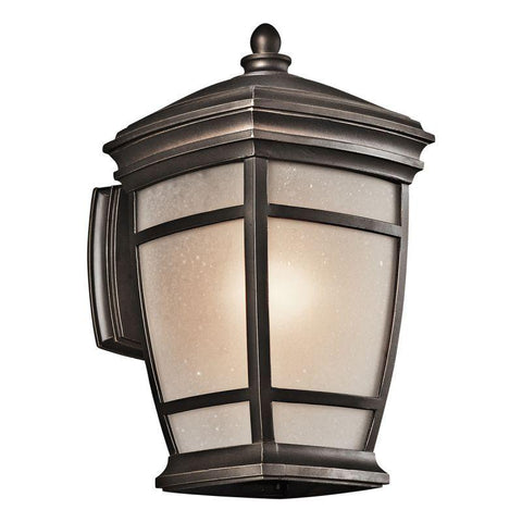 Kichler Lighting 49271RZFL McAdams Collection One Light Energy Saving Exterior Outdoor Wall Mount in Rubbed Bronze Finish