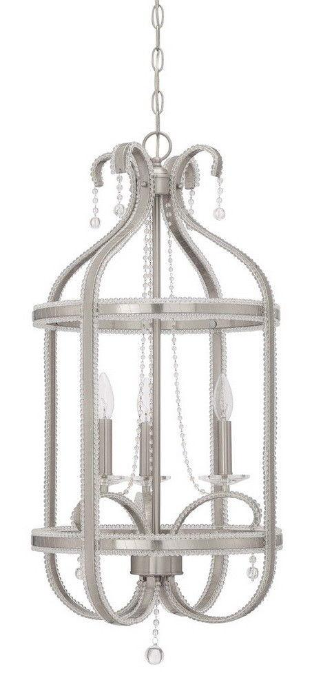 Craftmade Lighting 38533 BNK Andrianna Collection Three Light Pendant Chandelier in Brushed Polished Nickel Finish