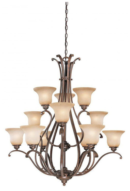 Vaxcel Lighting CH35412RBZB Monrovia Collection Twelve Light Hanging Chandelier in Royal Bronze Finish - Quality Discount Lighting
