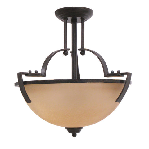 Trans Globe Lighting 9890 BGR Two Light Semi Flush Ceiling Mount in Black Finish with Gold Accent