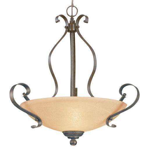 Craftmade Lighting 14424 BST Brookfield Collection Three Light Pendant Chandelier in Brownstone Finish