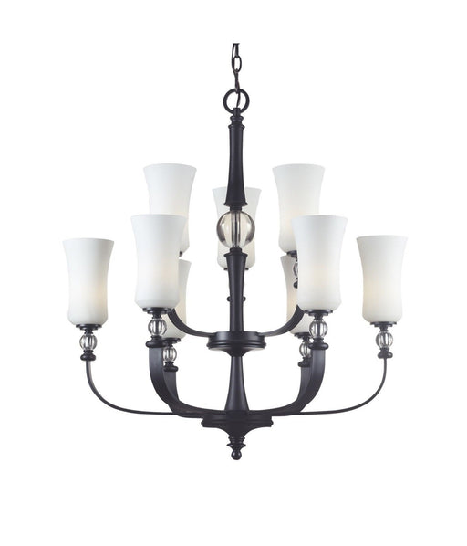 Z-Lite Lighting 604-9 Harmony Collection Nine Light Chandelier in Matte Black Finish