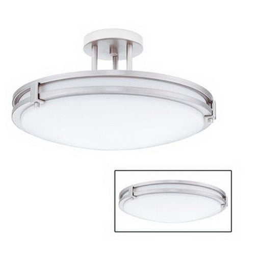 Lithonia 11752 BN Saturn Collection Energy Efficient Fluorescent Flush or Semi Flush Ceiling Fixture in Brushed Nickel Finish - Quality Discount Lighting