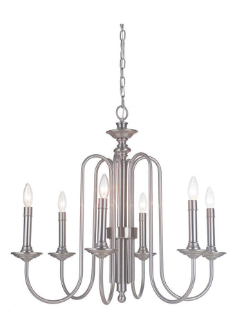 Craftmade Lighting 40726 PLN Avery Collection Six Light Hanging Chandelier in Polished Nickel Finish