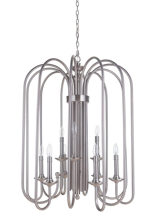 Craftmade Lighting 40739 PLN Avery Collection Nine Light Hanging Pendant Chandelier in Polished Nickel Finish
