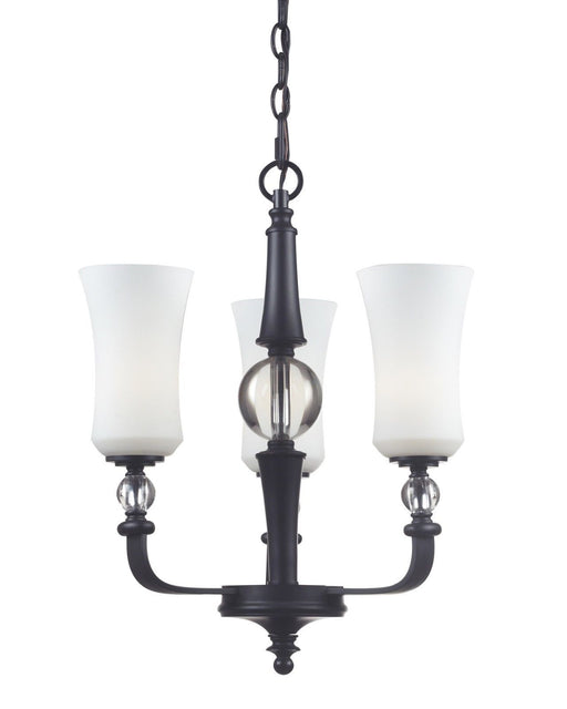 Z-Lite Lighting 604-3 Harmony Collection Three Light Chandelier in Matte Black Finish
